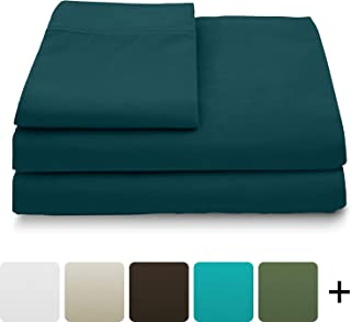 Cosy House Collection Luxury Bamboo Sheets - 5 Piece Bedding Set - High Blend from Natural Bamboo Fiber - Soft Wrinkle Free Fabric - 2 Fitted Sheets, 1 Flat, 2 Pillow Cases - Split King, Dark Teal