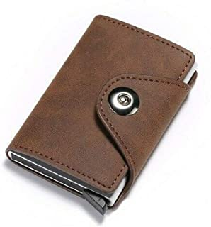RFID Blocking Pocket Wallet with Pop-up Function, Card Case Wallet for Business Man Unisex (Coffee)