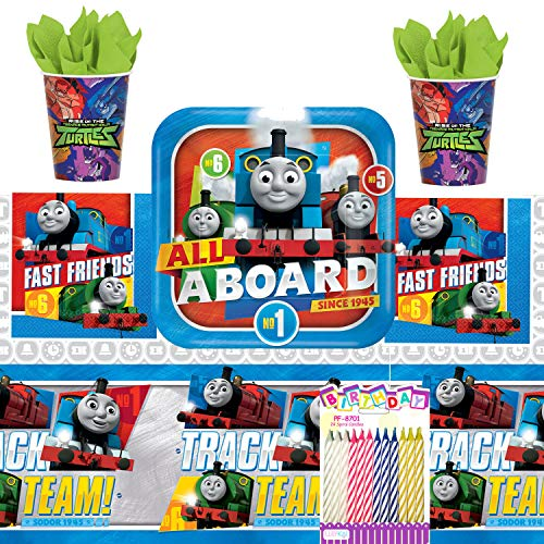 Thomas the Train Birthday Party Supplies Pack 73pc for 16: includes |Large Plates | Luncheon Napkins| Cups | Table Cover | Birthday Candles