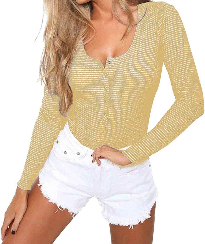 pinklux Women's Basic Solid Long Sleeve Round Neck Stretchy Bodysuits Bodycon Shapewear Leotard