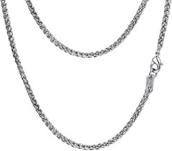 Stainless Steel Wheat Chain/Box Link Necklace, Black/18K Gold Plated, W: 3mm/6mm, L: 18''/20''/22''/24''/26''/28''/30'', Come Gift Box