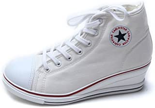 Women's Canvas Shoes High Tops Zip Lace Up Fashion Sneakers Platform Wedges