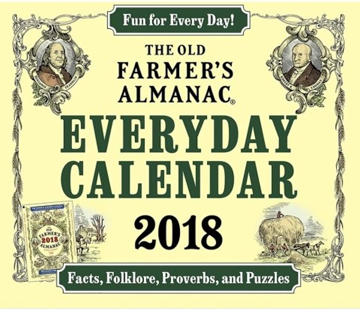 2018 Old Farmer's Almanac Everyday Facts, Folklore, Proverbs Puzzles Daily Desk Box Calendar
