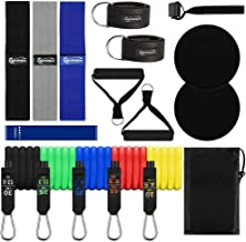 Gymletics 17 Pcs Resistance Bands Set,Home Workout Bands Set,5 Stackable Exercise Bands,3 Fabric Resistance Bands,2 Ankle Straps, 2 Handles,2 Core Sliders,Loop Band,Door Anchor,Carrying Bag