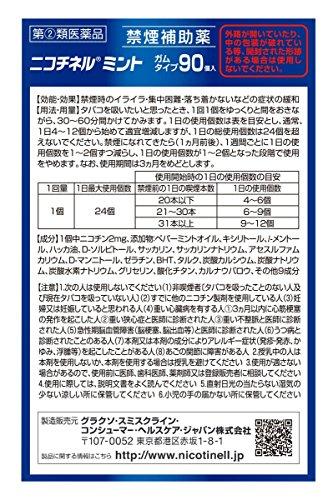 『【指定第2類医薬品】ニコチネル ペパーミント 90個 ※セルフメディケーション税制対象商品』の2枚目の画像