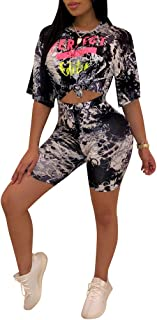 Womens Casual 2 Piece Outfits Short Sleeve Letter Print T Shirts Top Shorts Set