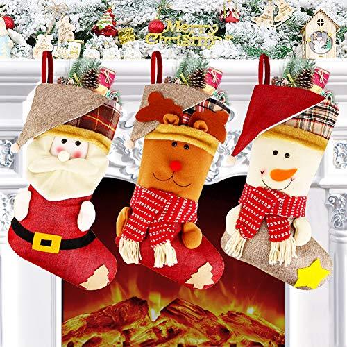 Calcetín de Navidad Juego de 3 (46 x 26 cm), Calcetín navideño grande con Diseño de 3D Nieve, Reno, Papá Noel, Medias de regalo Navideño grande, Decoraciones colgantes de chimenea, Árbol de Navidad