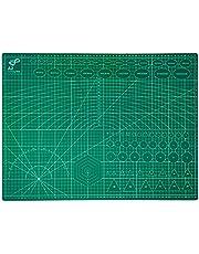 QILZO® Tabla de Corte A2 Doble Cara Plancha de Corte 3 capas para Costura y Manualidades Base de Corte para Patchwork Cutting Mat, Color Verde (60 x 45cm)