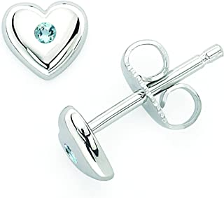 Little Diva 925 Sterling Silver Crystal Simulated Birthstone Heart Shaped Stud Earrings For Girls