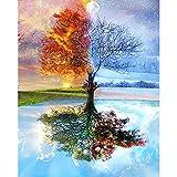 AGjDF Cuatro arbolesDIY Pintura al óleo Digital_Pintura DIY para Adultos y niños Regalo Pintura para Principiantes_40x50cm