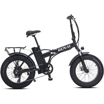 GUNAI Bicicleta Eléctrica 500W 20 Pulgadas 48V 15Ah Neumático Gordo Ciclismo de Playa Bicicleta de Montaña Suspensión Completa MTB Ebike 7 Velocidad Variable: Amazon.es: Deportes y aire libre