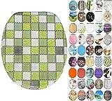 Asiento para inodoro de cierre suave, gran selección de atractivos asientos de inodoro con calidad superior y duradera de madera (Mosaico verde)