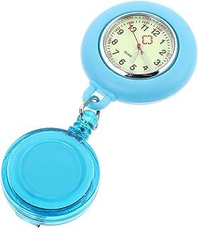 Balacoo Nurse Watch Retractable Doctor Clip on Hanging Lapel Nurse Pocket Watches Paramedic Brooch Luminous Watch Light Blue