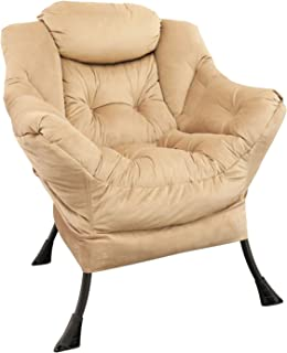 GOLDSUN Velvet Fabric Accent Chair Lazy Reclining Armchair with Removable Metal Legs and a Side Pocket, Comfy Upholstered ...