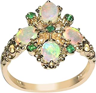 14k Yellow Gold Real Genuine Emerald and Opal Womens Band Ring