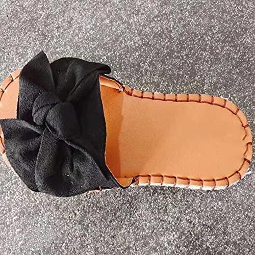 Fnho Sandalias Mujer Plataforma Casual,Sandalia Mujer Plataforma,Mariposa, Sandalias Planas, Zapatillas Playa Playa-Negro_37