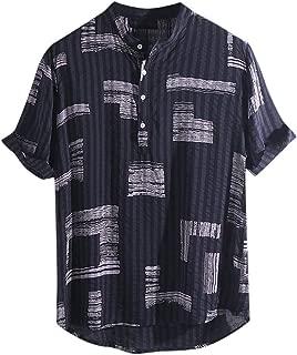Men's Linen Printed T-Shirt,Stand Collar Short Sleeve Loose Henley Shirts