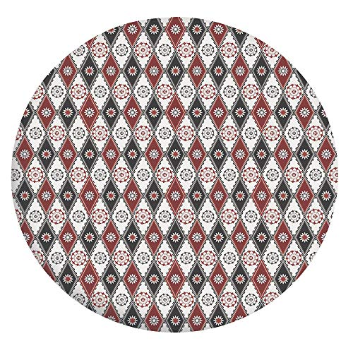 Elastic Edged Polyester Fitted Tablecloth,Vintage Rhombus with Flowers Lace Style Diamonds Victorian Image Decorative Tablecloth,Fits Round Tables 36-40',for Indoor and Outdoor Events Ruby Charcoal Gr