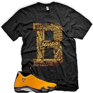New_B_ BLESSED T Shirt for Jordan 14 XIV Yellow Ferrari Carmelo 13
