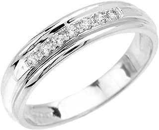 Men's 14k White Gold Diamond Wedding Band