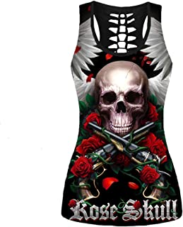 Women's Skull 3D Printed Tank Tops Halloween Skeleton Sugar Skull Hollow Out Racerback Yoga Shirt Summer Sleeveless Cami