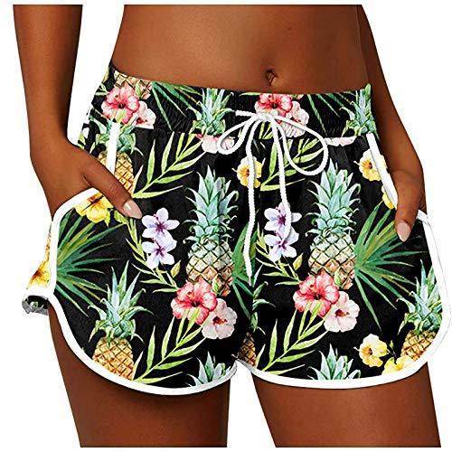 KEXIJIA Dames zwemshorts zomer korte zwembroek sneldrogend strand zwemshorts watersport badmode shorts met trekkoord sportbroek yogabroek fitnessbroek met zakken