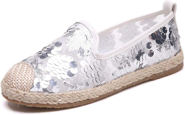 JOYBI Women Flat Loafers Round Toe Bling Summer Espadrilles Breathable Glitter Non Slip Casual Boat shoes