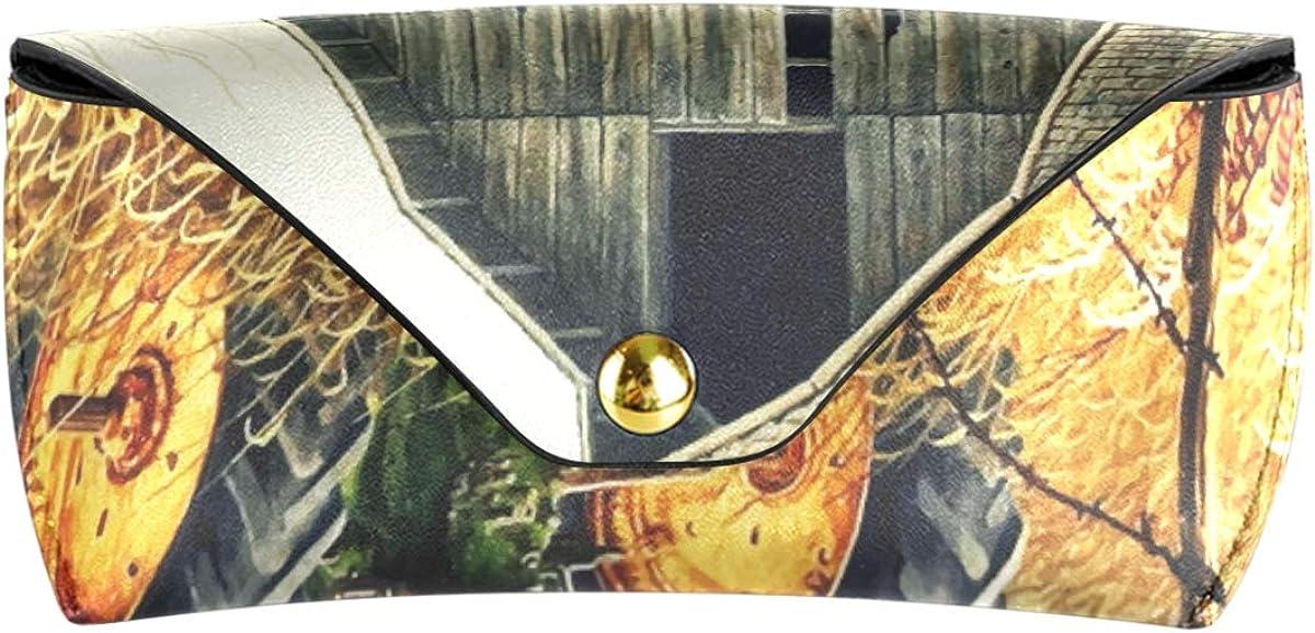 gift Art Autumn Farm Portable Goggles Bag Sunglasses Case Eyeglasses Pouch Multiuse PU Leather