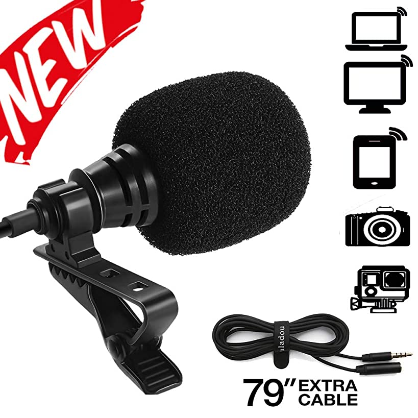 Paladou Lavalier Microphone for iPhone Android Smartphones Recording/Video Conference/Studio/Interview/Youtube/Podcast/Voice Dictation/3.5mm Lapel Mic