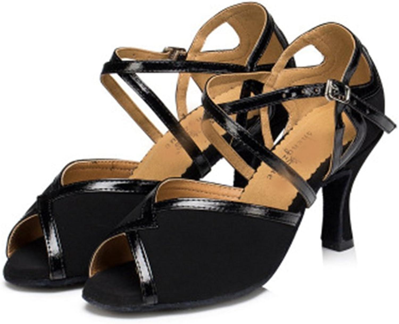 GIY Sexy Latin Dance shoes for Women Open Toe Ballroom Salsa Tango Heel Dancing Sandals shoes