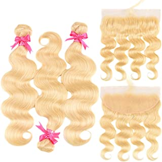 613 Blonde Body Wave 3 Bundles with Frontal Ear to Ear 100% Brazilian Human Hair Bundles with 13×4 Lace Frontal Pre-Plucked with Baby Hair Free Part (613 body 12 14 16+10 Frontal Free)