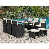 DecoInParis - Conjunto de mesa de jardín de resina trenzada con 6 sillones y 4 pufs Sydney