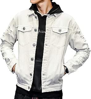 WAWAYA Mens Ripped Couples Dress Button Down Plus Size Embroidery Denim Jacket Coat
