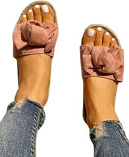 Womens Bow Tie Knot Slides Faux Espadrille Slip On Flat Sandals Classic Beach Shoes