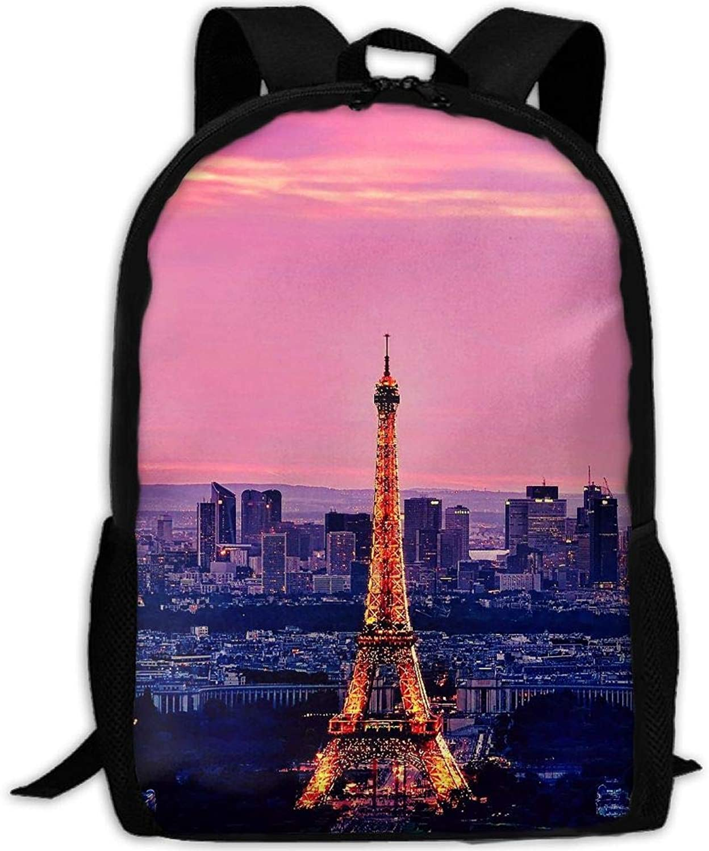 Backpack Briefcase Laptop Travel Hiking School Shoulder Bags Paris Eiffel Tower Daypack