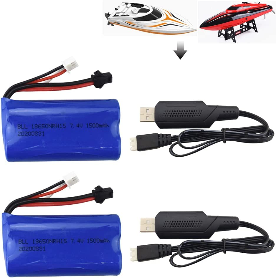 2PCS 7.4V 1500mAh Lithium Battery + 2PCS USB Charging Cable for H105 H103 H101 T2 High Speed Remote Control Boat Spare Parts Battery