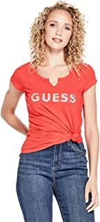 GUESS Factory Women's Holly Crush Embellished Logo Split Neck Short Sleeve Tee