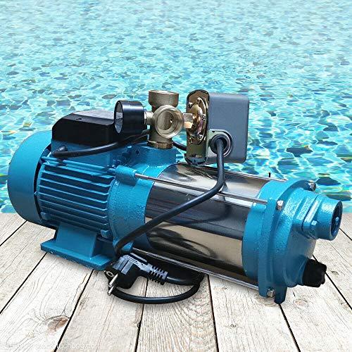 DIFU 1300W 9.8bar Gartenpumpe Kreiselpumpe Druckschalter Pumpensteuerung 5-Stage,Kreiselpumpe Wasserpumpe Gartenpumpe Hauswasserwerk 6000L/H Mit Manometer