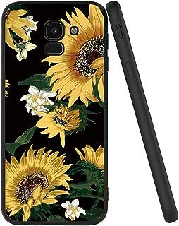 Yoedge Case for Galaxy J6 2018, Black Phone Case with Pattern [Ultra Slim] Shockproof Flexible Soft Gel TPU Silicone Back Cover Bumper Skin forSamsung Galaxy J6 2018 (Sunflower)