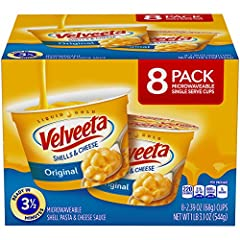 8 ct Box of Velveeta Original Shells & Cheese Microwavable Cups Ready in a mere 3 ½ minutes Convenient to pack for lunch at school, the office or as an on the go snack This macaroni and cheese requires only a microwave to prepare Made with our specia...
