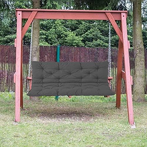 ZJHTK Cojín de banco con respaldo, impermeable, suave, de repuesto, cojín de asiento rectangular, para silla oscilante de 2 a 3 plazas, 100 x 100 x 10 cm, gris oscuro
