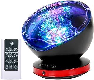 [2019改良版リモコン式]海洋プロジェクターライト ベッドサイドランプ 投影ランプ 8種点灯モード 催眠投影プレーヤー 6種音内蔵 スピーカー搭載 タイマー付 音量/輝度/角度調整可 USB給電 波の音内蔵 誕生日/子供プレゼント/パーテイー飾り/バレンタインデーギフトなど対応