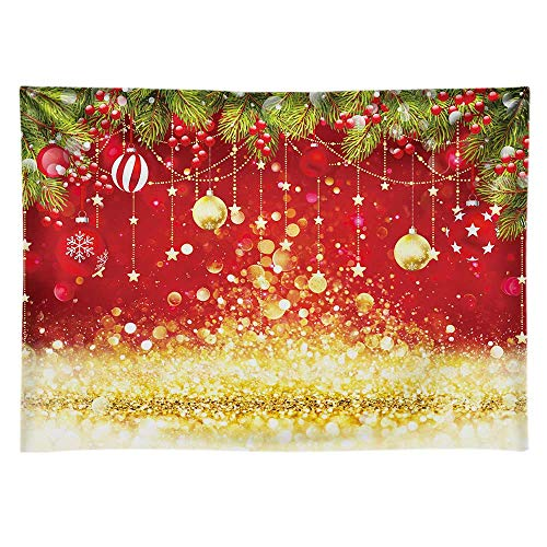 Funnytree 8x6ft Glitter Christmas Backdrop No Wrinkles Durable Red and Gold Winter Merry Xmas Family Party Background for Photography Sparkle Bokeh Decoration New Year Eve Banner Photo Booth Studio
