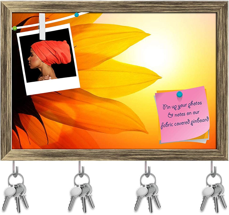 Artzfolio Sunflower Over Sunset Sky Key Holder Hooks   Notice Pin Board   Antique golden Frame 17.5 X 12Inch