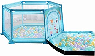 Baby Playpen  Baby Fence Play Area Baby Gate- Kids  Ball Pits for Children months 6 Years Old  with Sturdy Bases with Puzzle Play Mats and Colored Ocean Ball  Blue and Pink  6-Panel