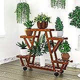 YEALEO Soporte de Bambú para Flores Estantería Decorativa de Macetas Plantas para...