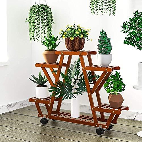YEALEO Etagère à Fleurs en Bambou Porte Pot de Plantes avec 6 Tablettes pour Rangement Escalier Présentoire de Jardin pour Balcon Terrasse Salon 87 x 72 x 25cm