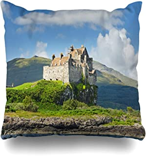 Ahawoso Throw Pillow Cover Summer Blue Scotland View On Duart Castle During Dark Summertime Nature Parks Green Mull Argyll Decorative Pillow Case 16x16 Inches Square Home Decor Pillowcase