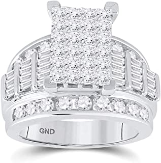FB Jewels 14K White Gold Womens Princess Diamond Cluster Bridal Wedding Engagement Ring 3.00 Cttw Size 7 (Widest point wid...