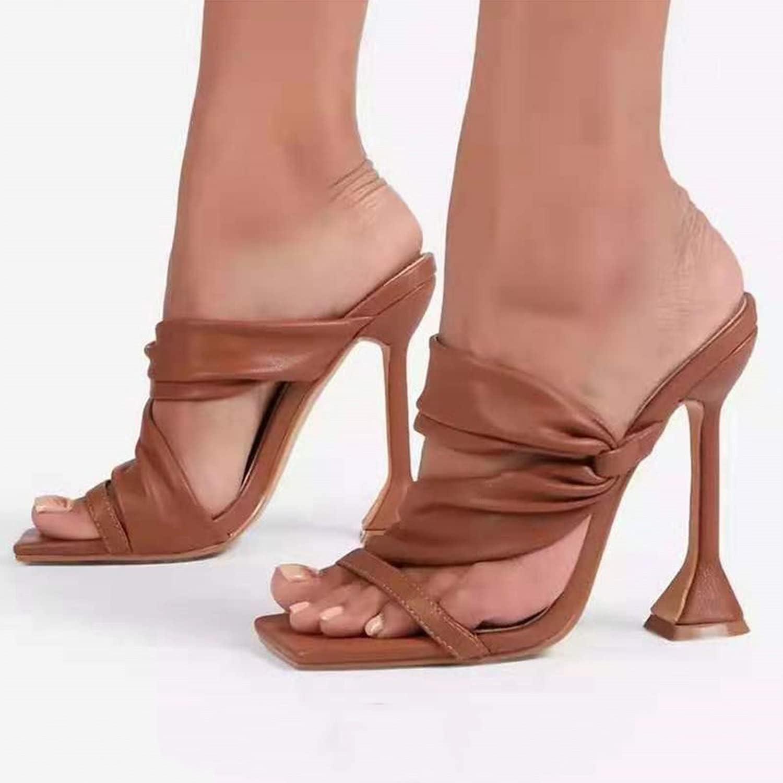 Womens Slide Sandal Ladies Sleek Crisscross High Heels Shoes Women Breathable Casual Shoes for Indoor Outdoor,Brown,EU38